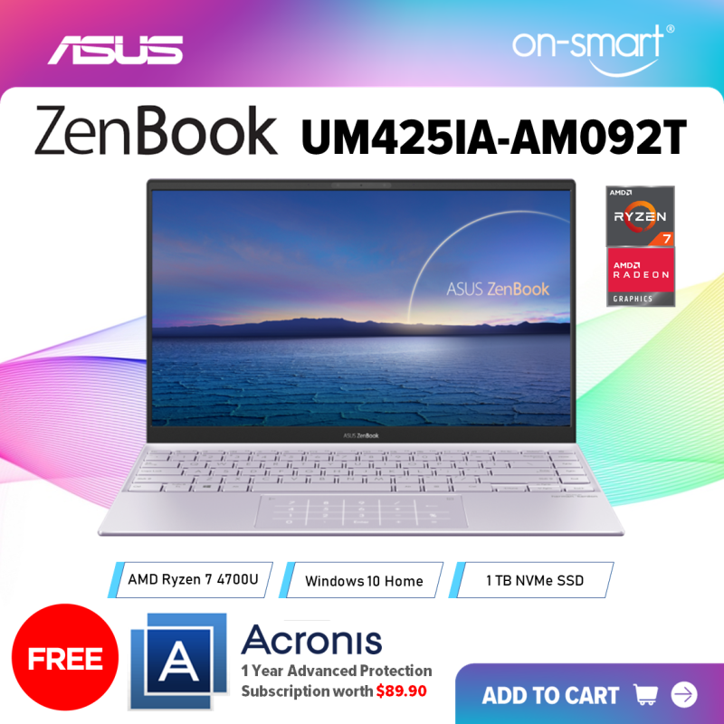 【Next Day Delivery】ASUS ZenBook UM425IA-AM092T | AMD Ryzen 7 4700U Processor | 8GB RAM | 1TB NVMe SSD | AMD Radeon Graphics | Windows 10 Home | 2 Years International Warranty | FREE Acronis Subscription