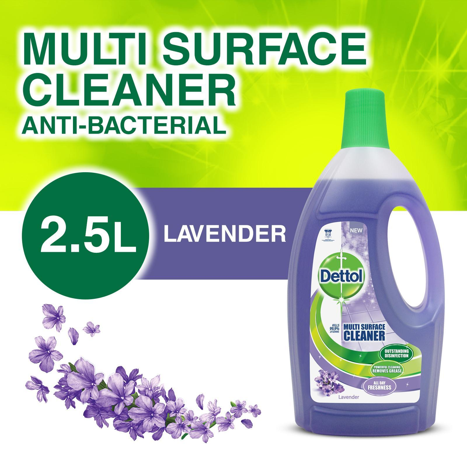 Dettol 4-In-1 Disinfectant Multi Surface Cleaner Lavender 2.5l By Redmart.