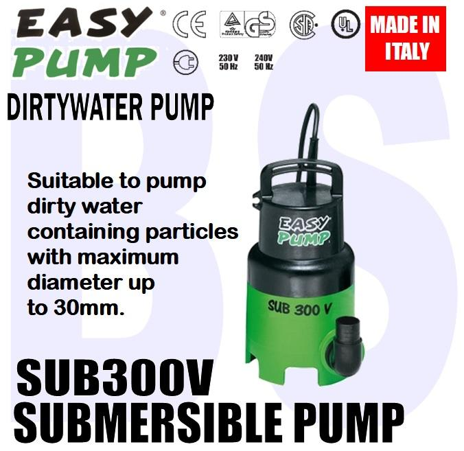 BANSOON EASYPUMP SUB300V. SUB300AV. MAXIVORT. Dirty Water Submersible Pump. pump up to 30mm dia particles.