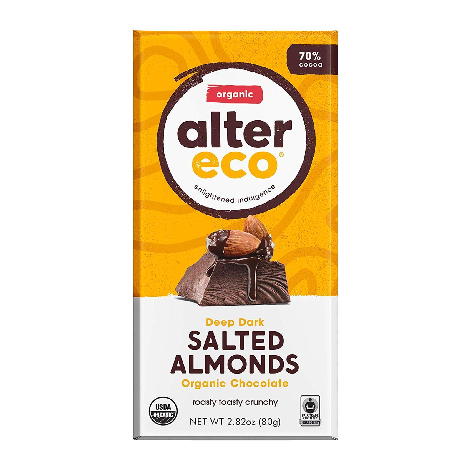 Alter Eco Organic Dark Salted Almonds Chocolate - By Wholesome Harvest
