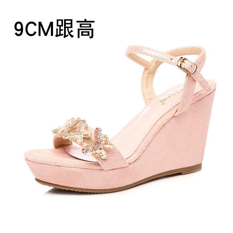 642ac1d17c6 Bai ling Summer Wedge Sandal women 2018 New Style High Heels Waterproof  Platform Pink Man-