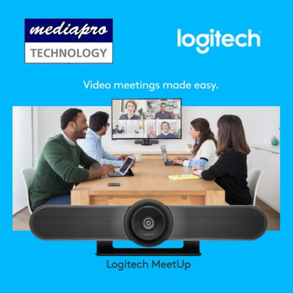 LOGITECH MEETUP All-in-One 4K Conference Cam with an Ultra-Wide Lens, Mic,  USB & Bluetooth Wireless for Small Rooms ( Webcam ) - Local Logitech Warranty