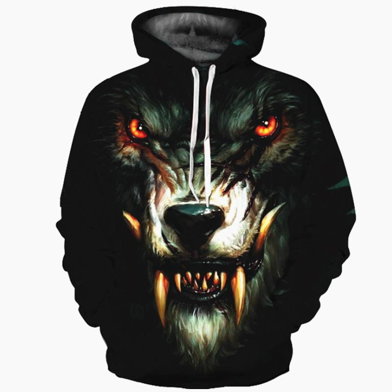 Colorful wolf head 3d printed hooded sweater European and American loose  large size hooded sweater
