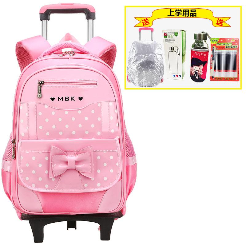 Young Students Trolley Bag Children Girls 1-3-6 Grade Three-Six round Climbing Stairs Removable 6-12-Year-Old Waterproof