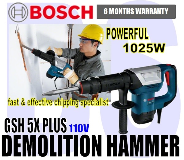 BANSOON BOSCH GSH 5X PLUS Professional Demolition hammer / Breaker. 110V. fast and effective chipping specialist. 1025W.