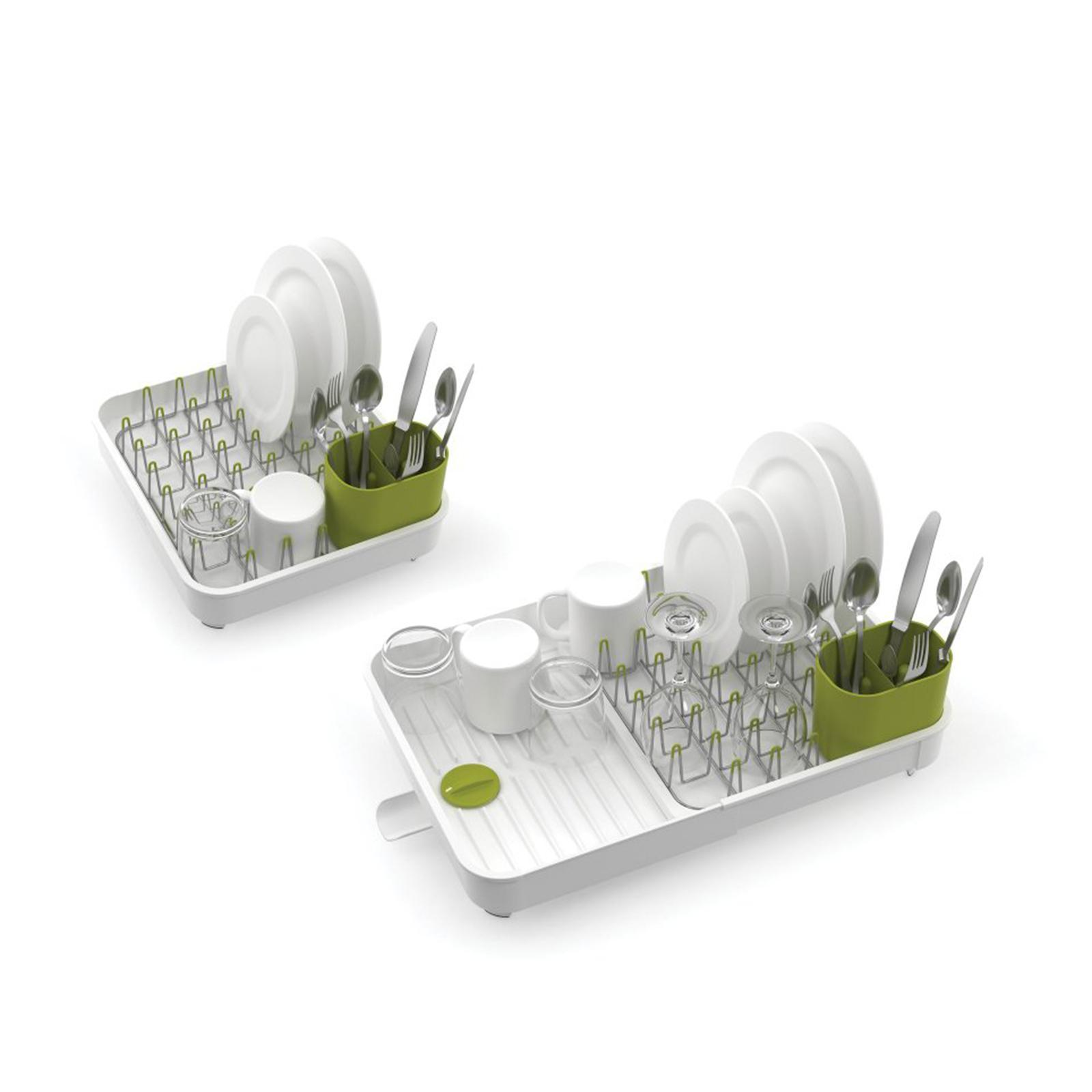 Joseph Joseph Expandable Dish Rack With Draining Plug - White/Green