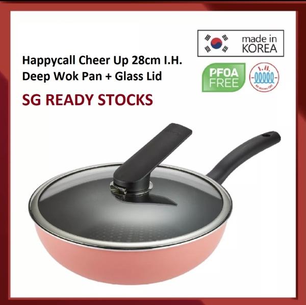 Happycall Cheer Up 28cm I.H. Deep Wok Pan + Glass Lid  Model N0 HC4900-0106 Singapore