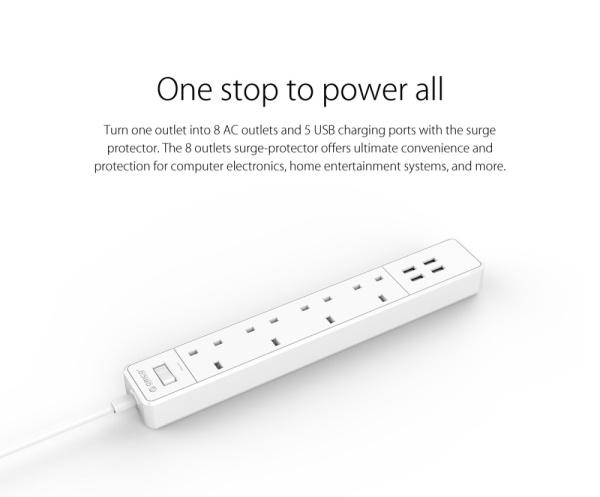 ORICO 4 AC Outlets 4 USB Ports Surge Protector (OSC-4A4U-UK)