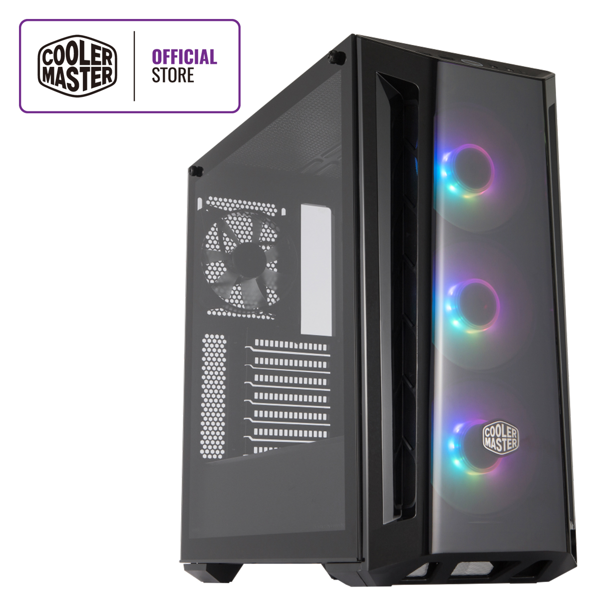 Front Cooler Master MasterBox MB520 RGB ATX Mid-Tower w// Front DarkMirror Panel