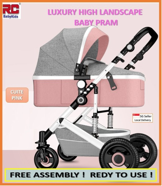 RC-BabyKids 3 in 1 Baby Stroller Pram Foldable High view Landscape Stroller Folding Baby Carriage Singapore