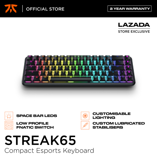 Fnatic Streak65 Compact RGB E-Sports Keyboard, 65% low profile Fnatic Speed Switches
