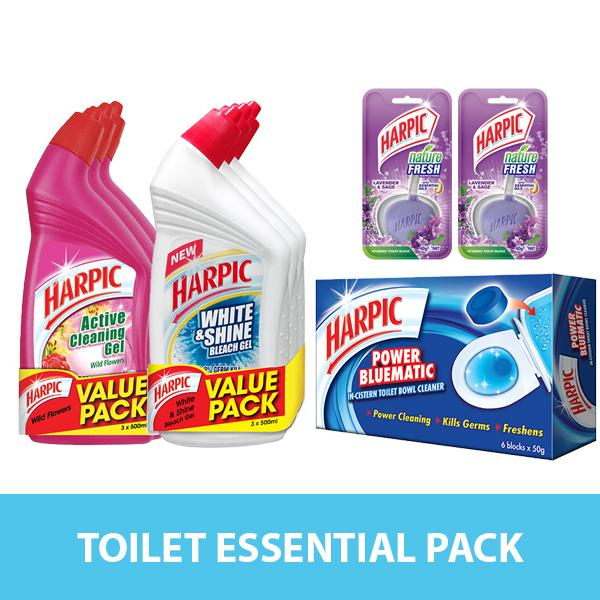 Toilet Essential Pack - Harpic Cleaning Set Free Harpic White And Shine 3s + Nature Fresh 40g Lavender & Sage X2 By Rb Home.
