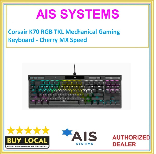 Corsair K70 RGB TKL Mechanical Gaming Keyboard - Cherry MX Speed Singapore
