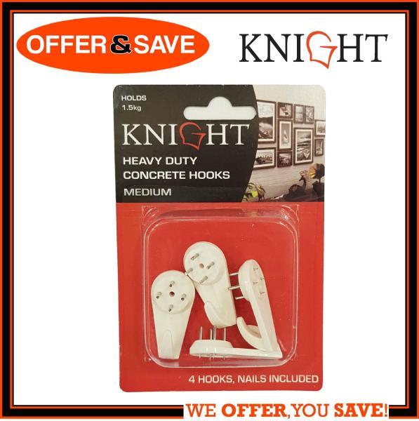 KNIGHT Heavy Duty Concrete Hook / Wall Hook Medium 4pcs - 12321