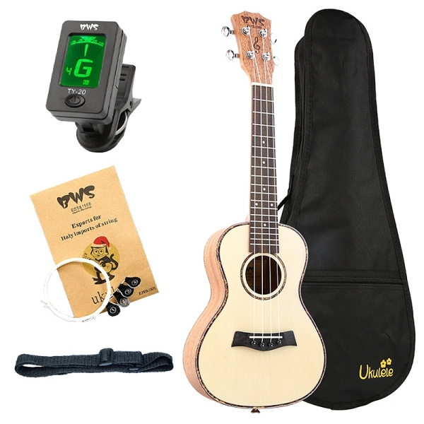 Bws Est&1988 Concert Ukulele 23 Inch Spruce Wood Acoustic Cutaway Guitar Hawaii 4 String Guitar for Beginner