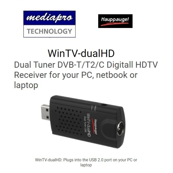 Hauppauge WinTV-dualHD 01597 Dual Tuner DVB-T/T2/C Digitall HDTV Receiver for your PC, netbook or laptop - 1 year local distributor warranty