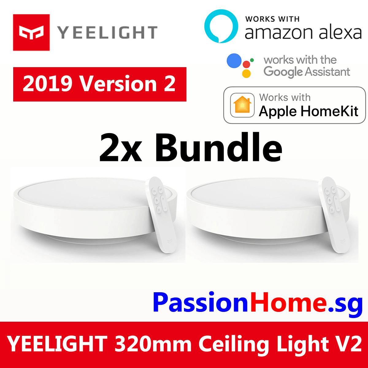 2x Bundle Yeelight Smart LED Ceiling Light Lamp (White) 320mm YLXD01YL 320 28W Wifi / BLE 1800 Lumens - Remote Control Included - Xiaomi Mijia Smart Home Automation - (Works with Google Home Assistant Amazon Alexa Echo) - Mi Home App - Passion Home