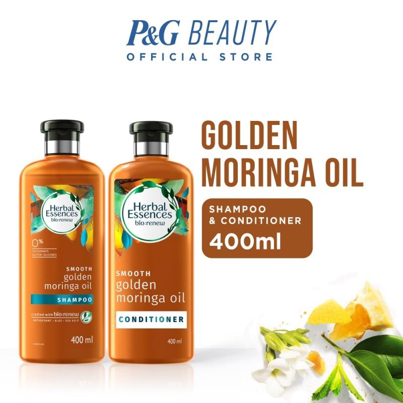 Buy [Bundle of 2] Herbal Essences Smooth Golden Moringa Oil Shampoo 400ml + Conditioner 400ml Singapore