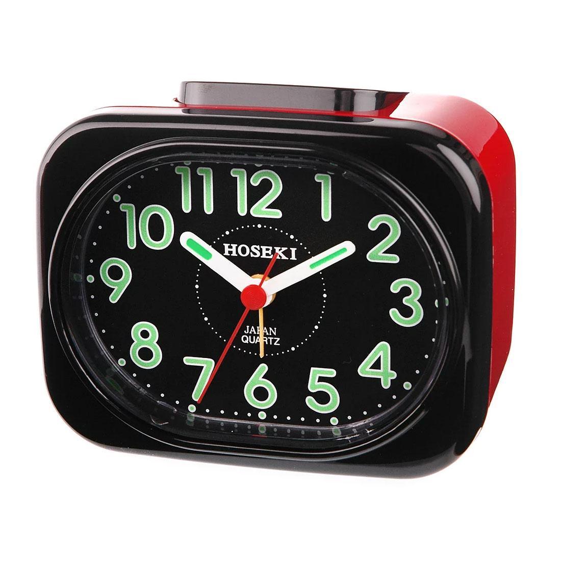 Hoseki Black Case and Dial Alarm Clock H-9053 H-9053BK/BK