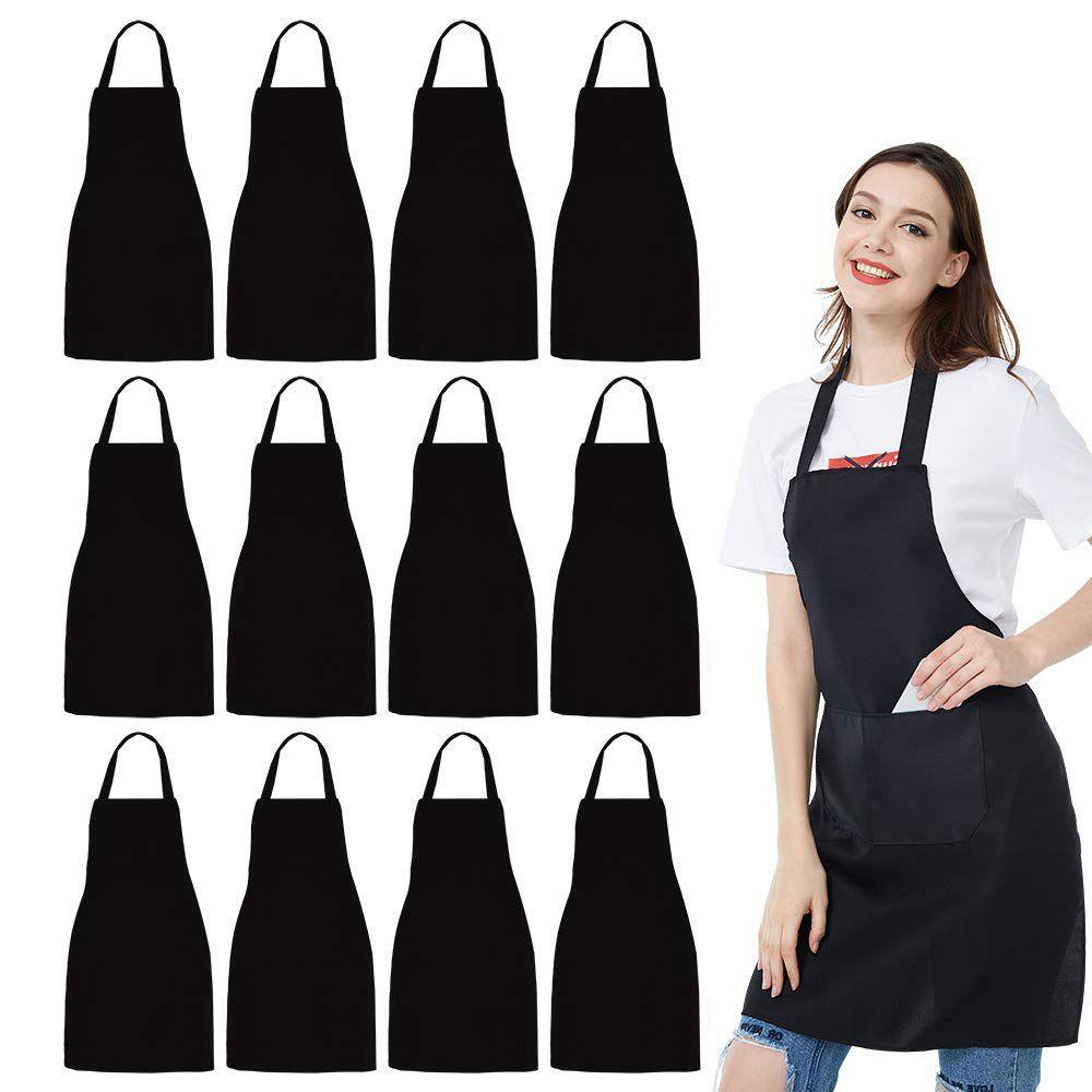 12 Pack Bib Apron - Unisex Black Apron Bulk With 2 Roomy Pockets Machine Washable For Kitchen Crafting Bbq Drawing By Dragonlee