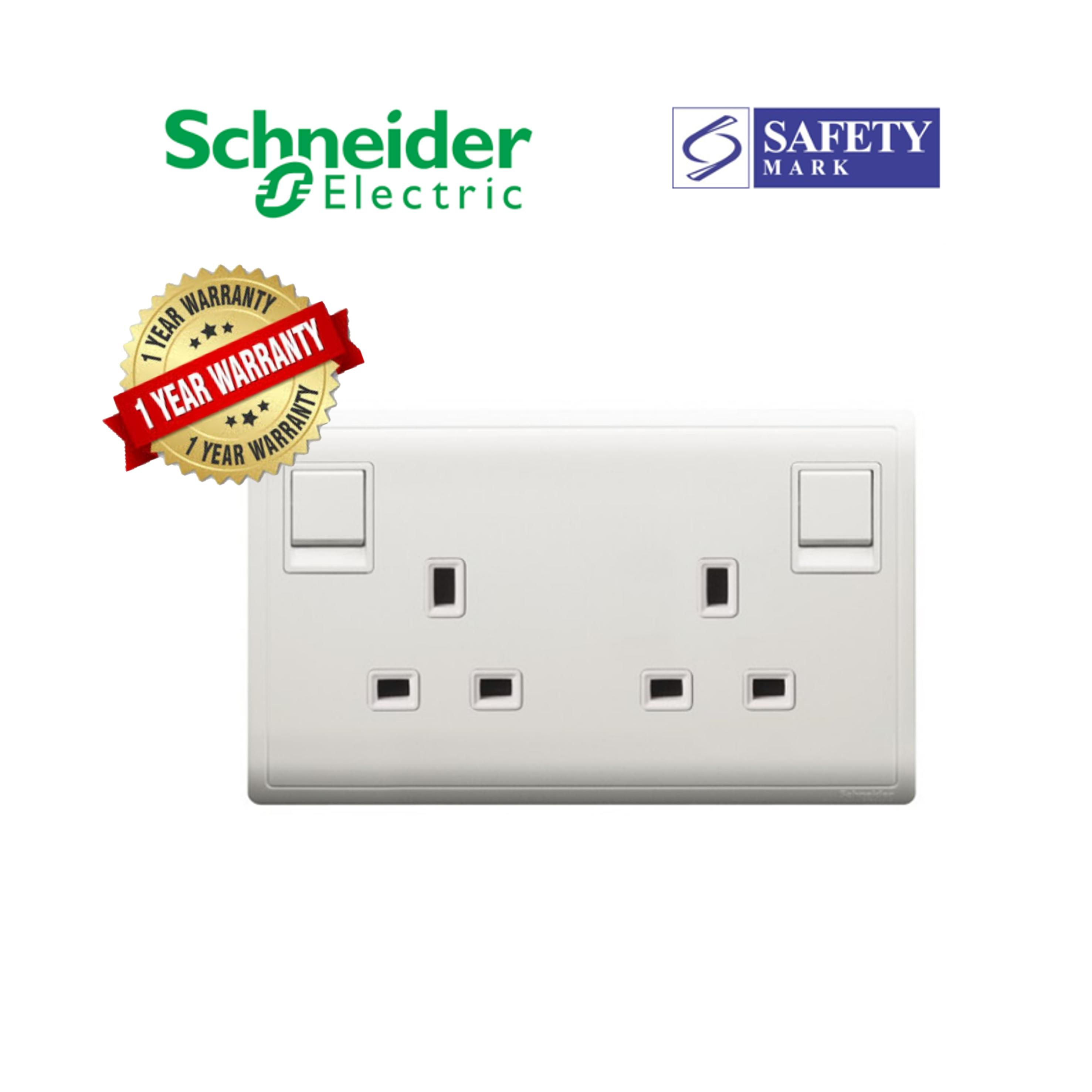 Schneider Electric Pieno- 13A Twin Gang Single Pole Switched Socket
