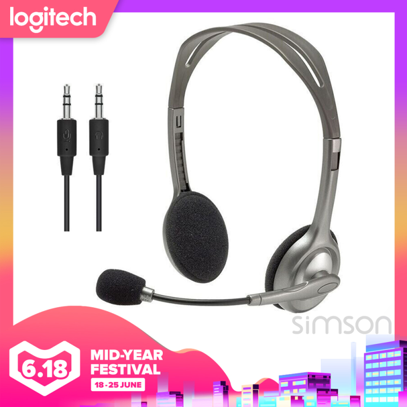 Logitech Stereo Headset H111/H110 Conference Headset Mikrofon Kebisingan Membatalkan Suara stereo penuh Untuk laptop tablet ponsel Singapore