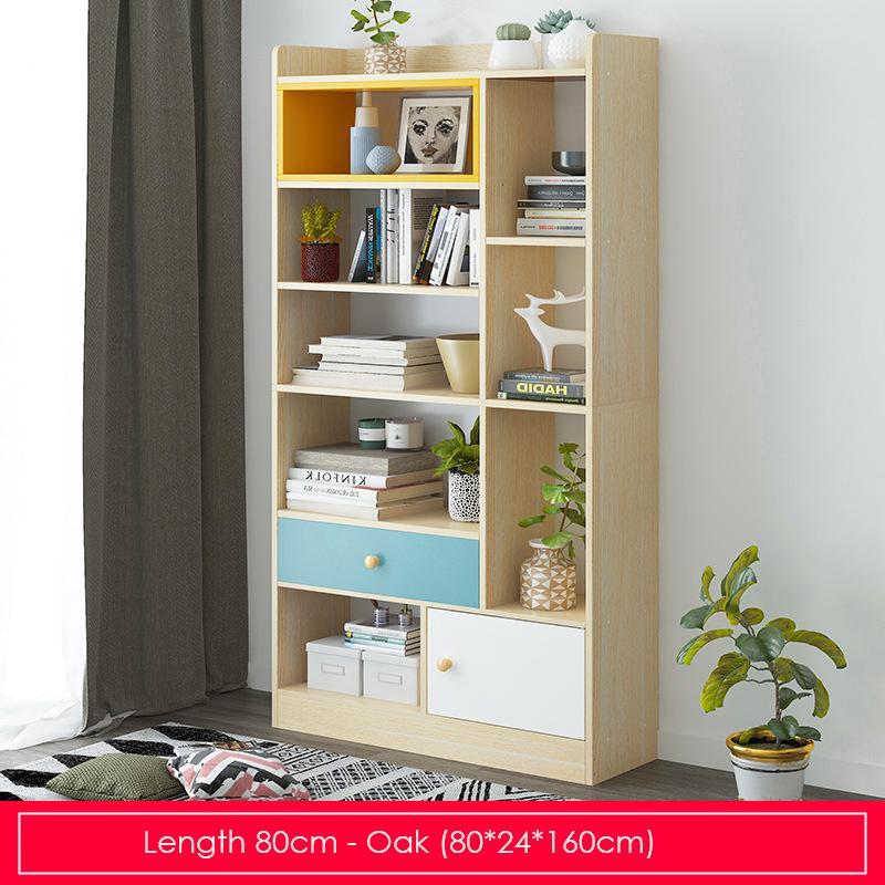 Oak Modern Storage Display Bookshelf - Length 80cm