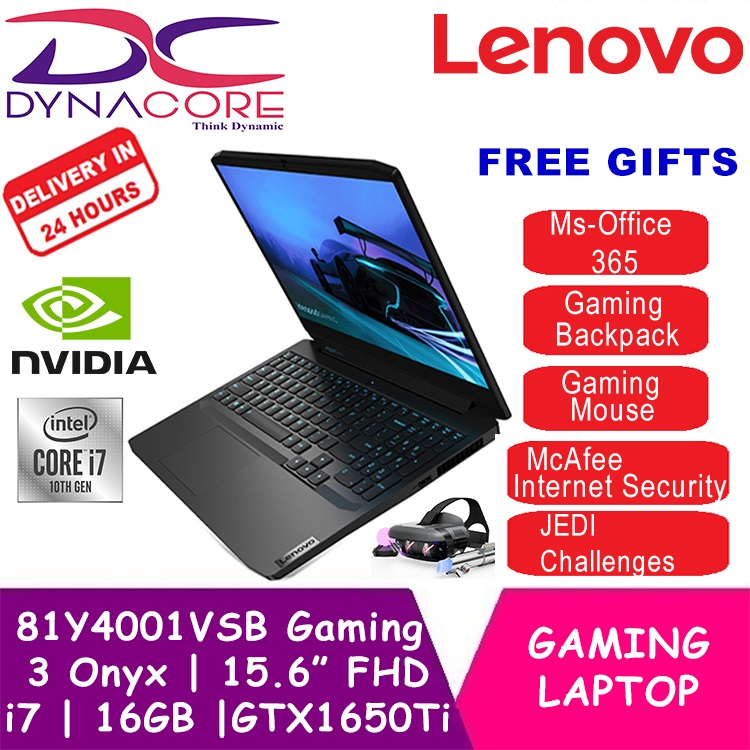 【delivery Within 24hr】【free Ms-Office】 Dynacore - Lenovo 81y4001vsb Gaming 3 Onyx Black Gaming Laptop Notebook | 15.6 Fhd Ips Ag | I7-10750h | 16gb Ddr4 | 512gb Pcie Ssd | Nvidia Gtx 1650ti 4gb Gddr6 | Win 10 | 3yrs On-Site Warranty By Lenovo.
