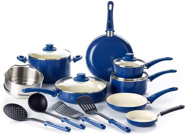 GreenLife Soft Grip 16 Piece Ceramic Non-Stick Kitchenware Cookware Kitchen Pot Frying Pan Saucepan Set, Blue Singapore
