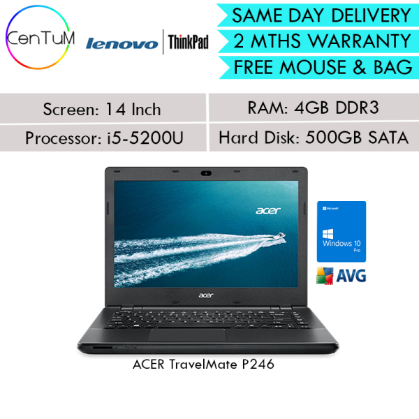 [Same Day Delivery] Refurbished ACER TravelMate P246 P249 14 i5-5200U 6200U 2.20Ghz 4GB / 8GB / 500 SATA Win10 Pro