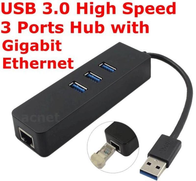 USB 3.0 High Speed 3 Ports HUB with RJ45 Gigabit 1000Mbp Lan Ethernet Adapter 5U