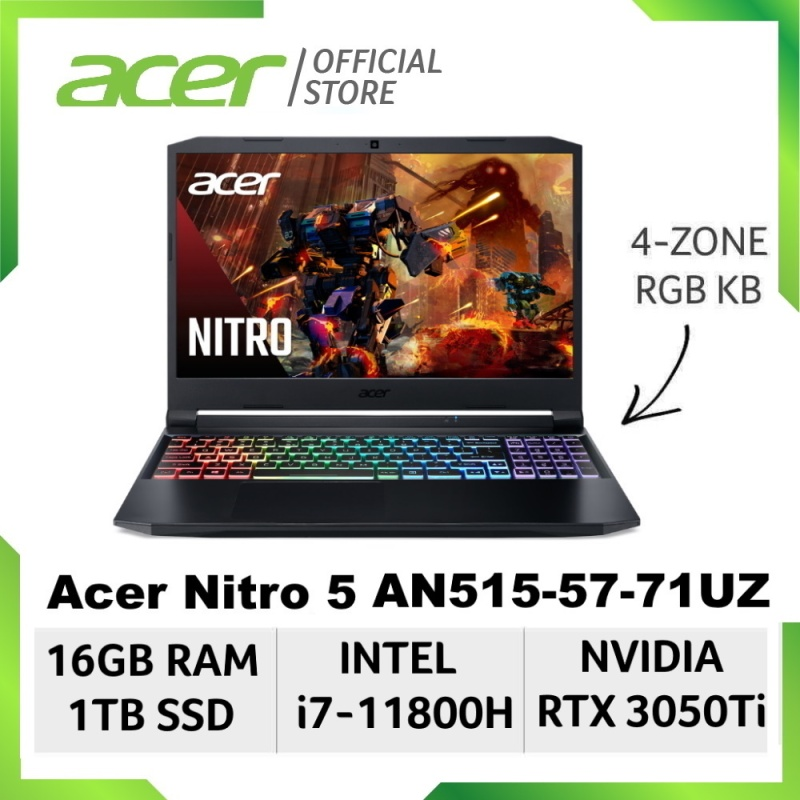 [NEW Model] [NVIDIA RTX3050TI and Intel i7-11800H] Acer Nitro 5 AN515-57-71UZ 15.6 inch FHD IPS Gaming Laptop