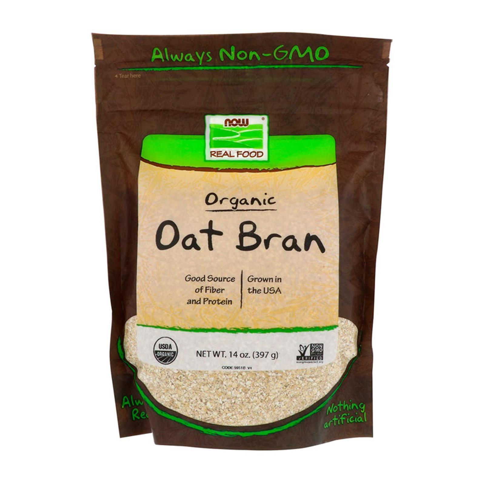 Now Foods Real Food Organic Oat Bran 14 Oz (397 G)