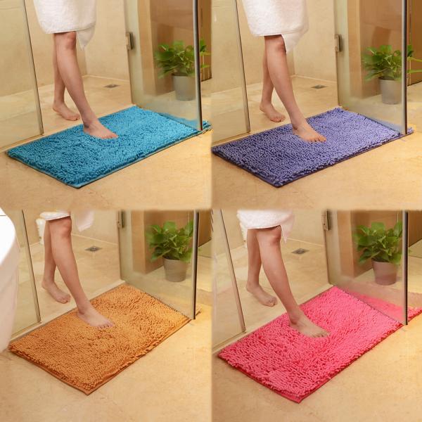 4060cm Colorful Super Absorbent Floor Toilet Kitchen Living Room Bathtub Chenille Bath Mat Bathroom Carpet Doormat