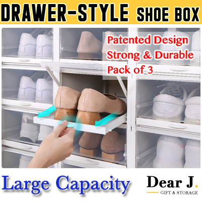[Pack of 3] Shoes Storage Box Patented Drawer Design Allows Easy Access with one hand [DearJ]