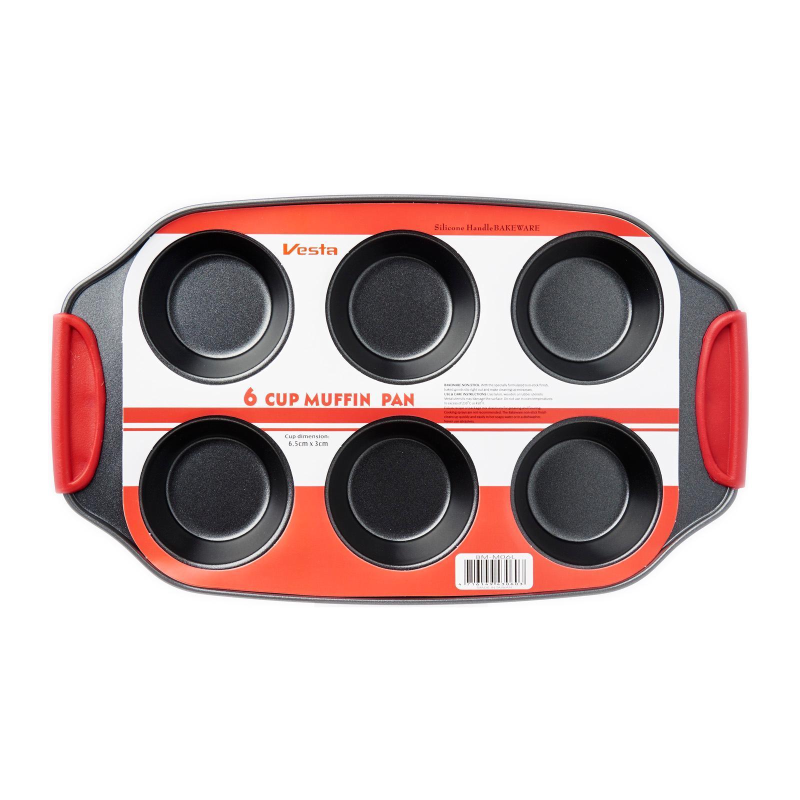 Vesta Silicone Handle Muffin Pan - 6 cup x 6.5cm
