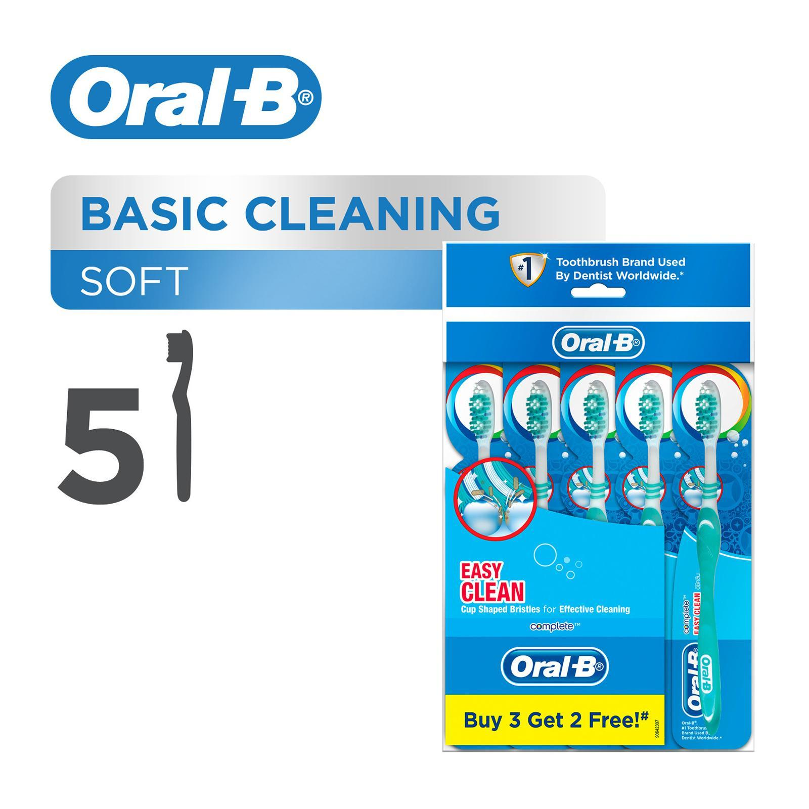 ORAL B complete easy clean medium manual toothbrush 5 count polybag