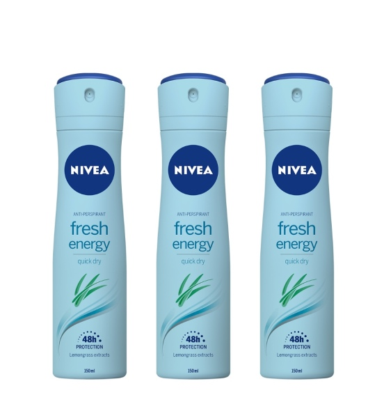 Buy (Bundle Of 3) Nivea Deodorant Spray - Fresh Energy (L) 150ml - Beauty Language Singapore