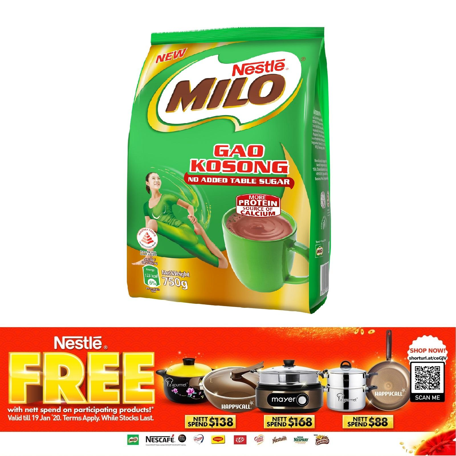 MILO Zero Added Table Sugar Powder Refill Pack 750g (GAO KOSONG)
