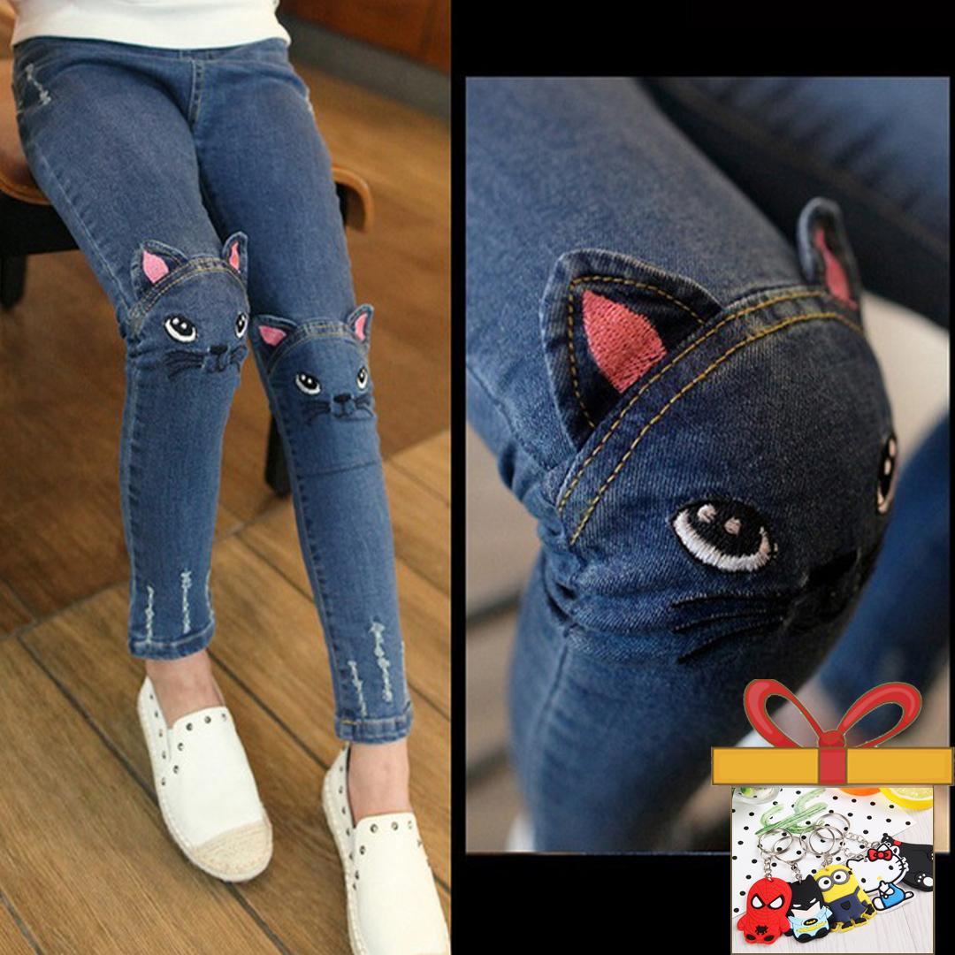 e44fb2b49 New Kids Girls Jeans Pants Spring Autumn Cute Cat Embroidery Jeans Pants  Children Pants Kids Warm