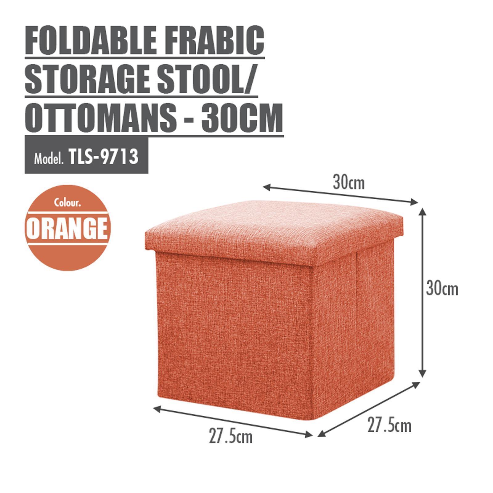 HOUZE Foldable Fabric Storage Stool/Ottomans - (Orange)