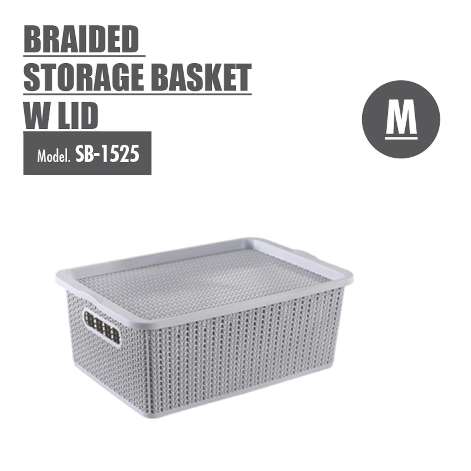Houze Braided Storage Basket With Lid - Medium - SB-1525-GREY