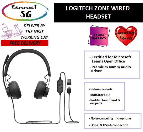 Logitech Zone Wired Headset l Certified for Microsoft Teams l Noise Cancelling Headset with Microphone l Logitech Headset with Mic l Logitech Noise Cancelling Headset l Headset Noise Cancelling l Headset Wired l Headset with Microphone Singapore