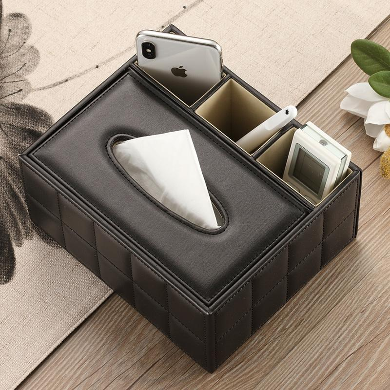 Multi-functional Tissue Box Paper Extraction Box European Style Teapoy Table Household Simple Tissue Box Living Room Desktop Remote Control Storage Box