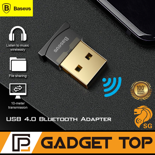 SG Seller Baseus USB Bluetooth Adapter USB Dongle for Speaker Aux PC Computer Mouse Keyboard Bluetooth Receiver Bluetooth 4.0 Black