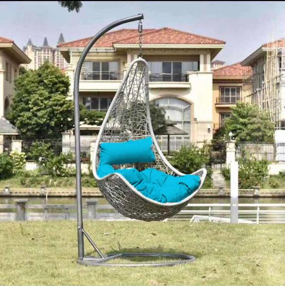 [A-STAR] Silver Grey Outdoor Balcony Swing Chair +Blue Cushions (FREE INSTALL)