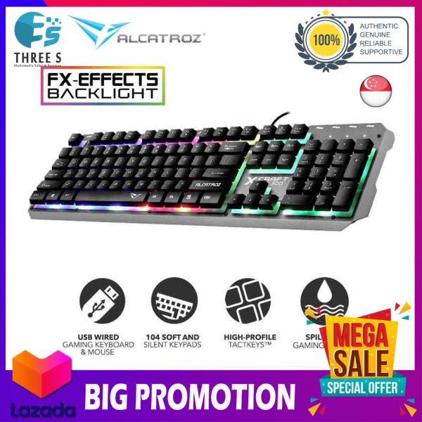 Alcatroz XKB-300 Spill Proof Gaming Keyboard with 9 Backlight Effect Singapore