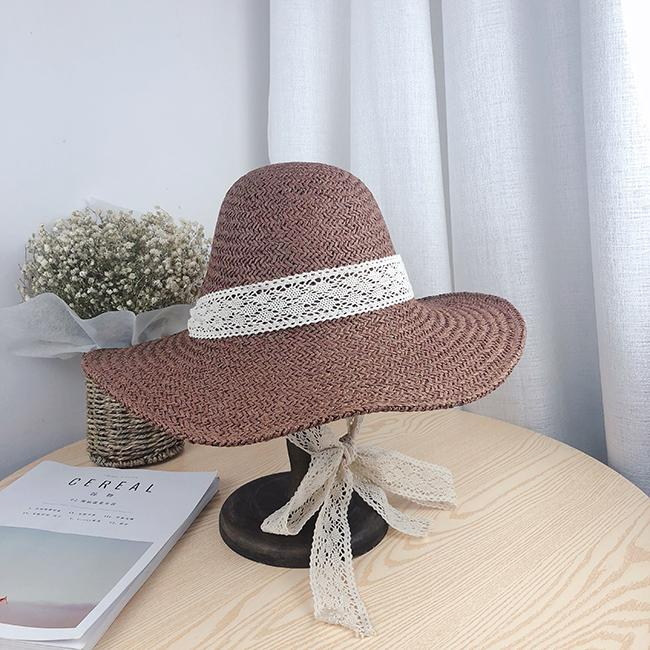 30d604eb Straw Hat Female Summer Fresh Korean Style Versatile Lace Lace-up Beach Hat  Foldable Seaside