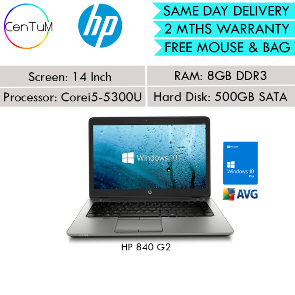 [Same Day Delivery] Refurbished HP Elitebook 820 840 G2 G3 G4 14 Inch Laptop Core i5-5300U / 8GB / 500 SATA / Win10 Pro [Up to 24 Months Warranty]