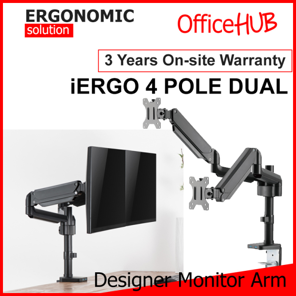 iERGO 4 Pole Dual Monitor Arm Fits Monitor Screens From 15 Inch To 32 Inch Max Weight 8 KG VESA Mount Height Adjustable Clamp/Grommet Mount To Desk Monitor Stand Ergonomic Solution Home Office Monitor Monitor Mount